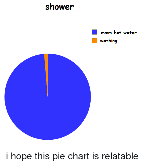 pie chart: shower  mmm hot water  washing i hope this pie chart is relatable