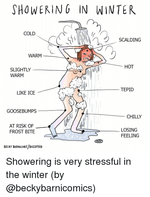 goosebumps: SHOWERING IN WINTER  COLD  SCALDING  WARM  HOT  SLIGHTLY  WARM  TEPID  LIKE ICE  GOOSEBUMPS  CHILLY  AT RISK OF  FROST BITE  LOSING  FEELING  BECKY BARNICOAT BUZZFEED Showering is very stressful in the winter (by @beckybarnicomics)