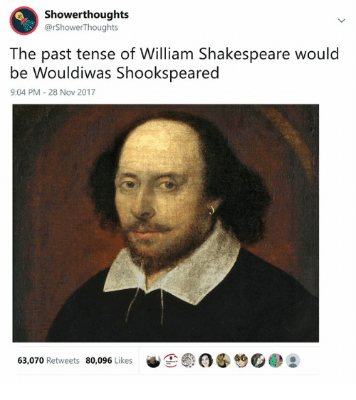 Shakespeare, Classical Art, and William Shakespeare: Showerthoughts  @rShowerThoughts  The past tense of William Shakespeare would  be Wouldiwas Shookspeared  9:04 PM 28 Nov 2017  笆。  63,070 Retweets 80,096 Likes
