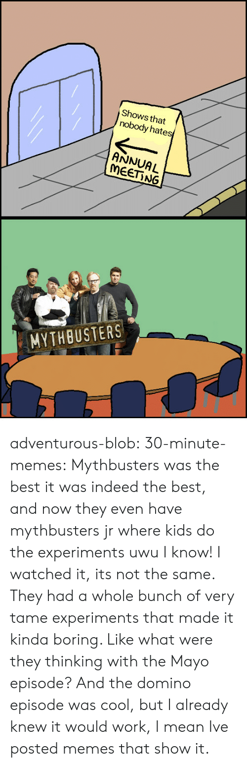 MythBusters: Shows that  nobody hates  ANNUAL  MEET NG  MYTHBUSTERS adventurous-blob:  30-minute-memes:  Mythbusters was the best  it was indeed the best, and now they even have mythbusters jr where kids do the experiments uwu   I know! I watched it, its not the same. They had a whole bunch of very tame experiments that made it kinda boring. Like what were they thinking with the Mayo episode? And the domino episode was cool, but I already knew it would work, I mean Ive posted memes that show it.