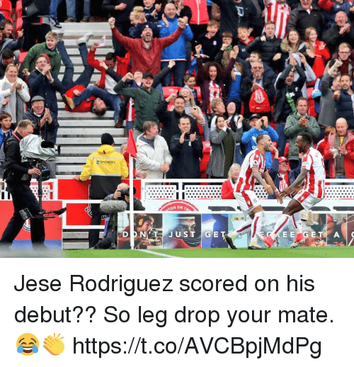 Soccer, Rodriguez, and Debut: SHOWSEC Jese Rodriguez scored on his debut?? So leg drop your mate. 😂👏 https://t.co/AVCBpjMdPg