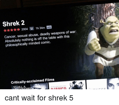 Philosophically: Shrek 2  2004 U  1h 34m HD  Cancer, sexual abuse, deadly weapons of war:  Absolutely nothing is off the table with this  philosophically minded comic.  Critically-acclaimed Films cant wait for shrek 5