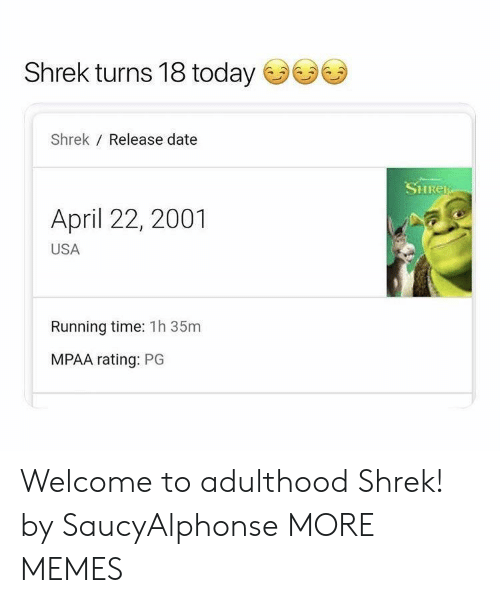 release date: Shrek turns 18 today  Shrek Release date  SHRER  April 22, 2001  USA  Running time: 1h 35m  MPAA rating: PG Welcome to adulthood Shrek! by SaucyAlphonse MORE MEMES
