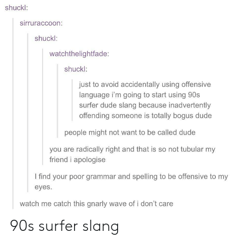 I Find Your: shuckl:  sirruraccoon:  shuckl:  watchthelightfade:  shuckl:  just to avoid accidentally using offensive  language i'm going to start using 90s  surfer dude slang because inadvertently  offending someone is totally bogus dude  people might not want to be called dude  you are radically right and that is so not tubular my  friend i apologise  I find your poor grammar and spelling to be offensive to my  eyes.  watch me catch this gnarly wave of i don't care 90s surfer slang