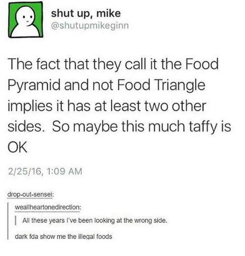 food pyramid: shut up, mike  @shut upomikeginn  The fact that they call it the Food  Pyramid and not Food Triangle  implies it has at least two other  sides. So maybe this much taffy is  OK  2/25/16, 1:09 AM  drop-out-sensei:  weallheartonedirection:  All these years l've been looking at the wrong side.  dark fda show me the illegal foods