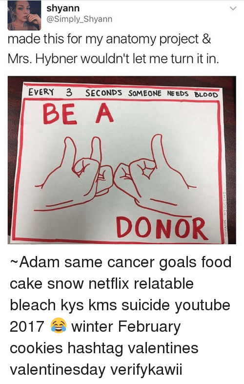 Youtubable: Shyann  @Simply Shyann  made this for my anatomy project &  Mrs. Hybner wouldn't let me turn itin  EVERY 3 SECONDS SOMEONE NEEDS BLOOD  BE  A  DONOR ~Adam same cancer goals food cake snow netflix relatable bleach kys kms suicide youtube 2017 😂 winter February cookies hashtag valentines valentinesday verifykawii