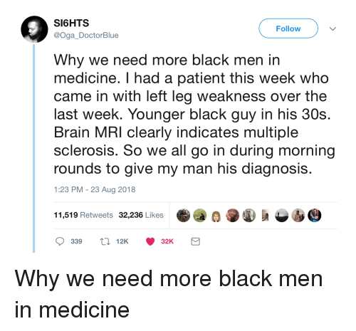 Black, Brain, and Patient: SI6HTS  @Oga DoctorBlue  Follow  Why we need more black men in  medicine. I had a patient this week who  came in with left leg weakness over the  last week. Younger black guy in his 30s.  Brain MRI clearly indicates multiple  sclerosis. So we all go in during morning  rounds to give my man his diagnosi:s  1:23 PM -23 Aug 2018  11,519 Retweets 32,236 Likes  339 12K32K Why we need more black men in medicine