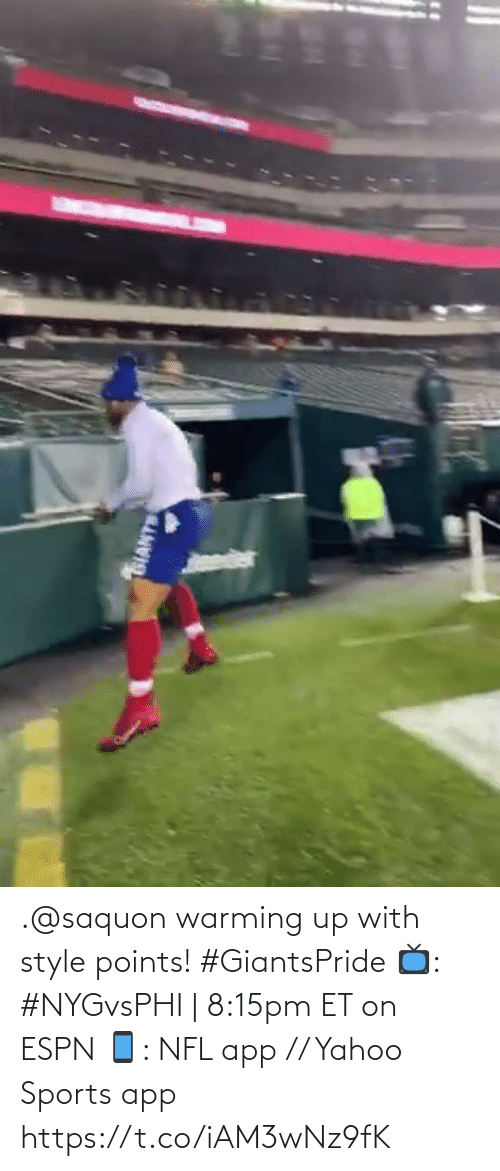 warming-up: SIANTS .@saquon warming up with style points! #GiantsPride  📺: #NYGvsPHI | 8:15pm ET on ESPN 📱: NFL app // Yahoo Sports app https://t.co/iAM3wNz9fK