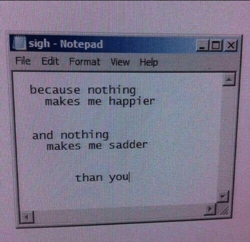 notepad: sigh Notepad  -미 X1  File Edit Format View Help  because nothing  makes me happier  and nothing  makes me sadder  than you