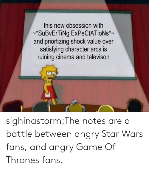 Game: sighinastorm:The notes are a battle between angry Star Wars fans, and angry Game Of Thrones fans.