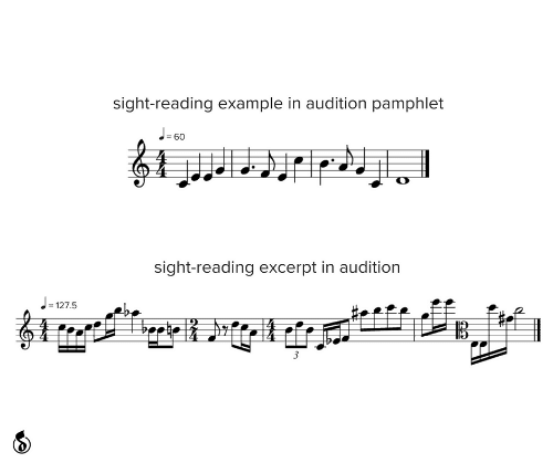 5 3: sight-reading example in audition pamphlet  J-60  %3!  sight-reading excerpt in audition  = 127.5  3