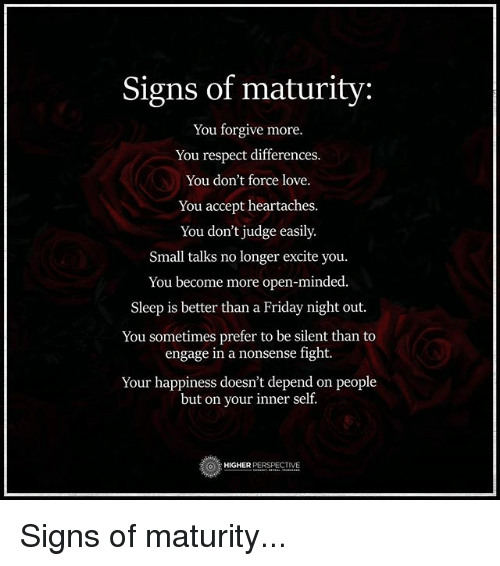Signs Of Maturity In A Man