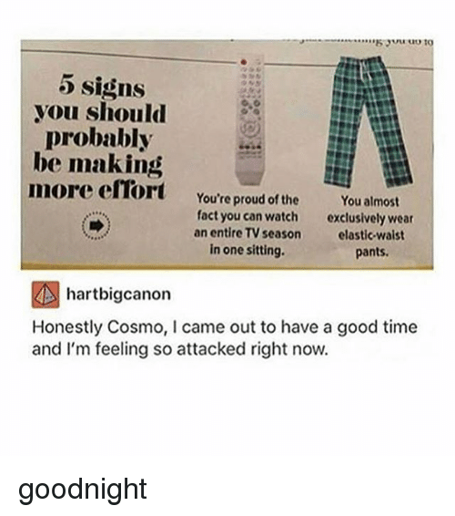 Memes, Good, and Time: Signs  you should  probably  be making  more efTort  You're proud of the  You almost  fact you can watch  an entire TV season  exclusively wear  elastic-waist  pants  in one sitting.  hartbigcanon  Honestly Cosmo, I came out to have a good time  and I'm feeling so attacked right now. goodnight