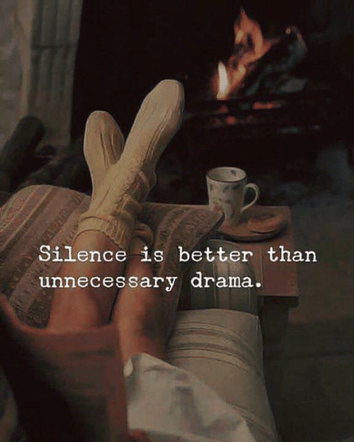 Silence Is: Silence is better than  unnecessary arama.