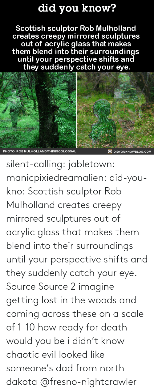 Co Uk: silent-calling: jabletown:  manicpixiedreamalien:  did-you-kno:  Scottish sculptor Rob Mulholland  creates creepy mirrored sculptures  out of acrylic glass that makes  them blend into their surroundings  until your perspective shifts and  they suddenly catch your eye.  Source Source 2  imagine getting lost in the woods and coming across these on a scale of 1-10 how ready for death would you be  i didn't know chaotic evil looked like someone's dad from north dakota    @fresno-nightcrawler