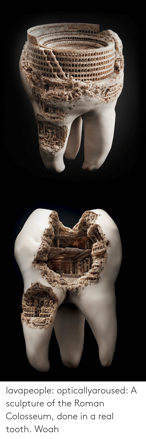colosseum: SILLMICI lavapeople:  opticallyaroused:  A sculpture of the Roman Colosseum, done in a real tooth.  Woah