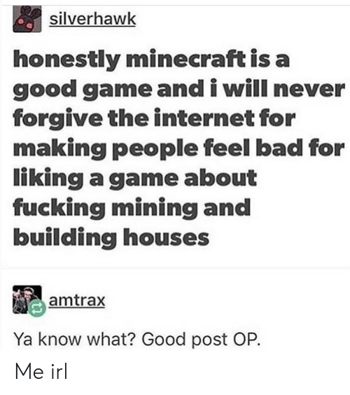 Post Op: silverhawk  honestly minecraft is a  good game and i will never  forgive the internet for  making people feel bad for  liking a game about  fucking mining and  building houses  amtrax  Ya know what? Good post OP. Me irl