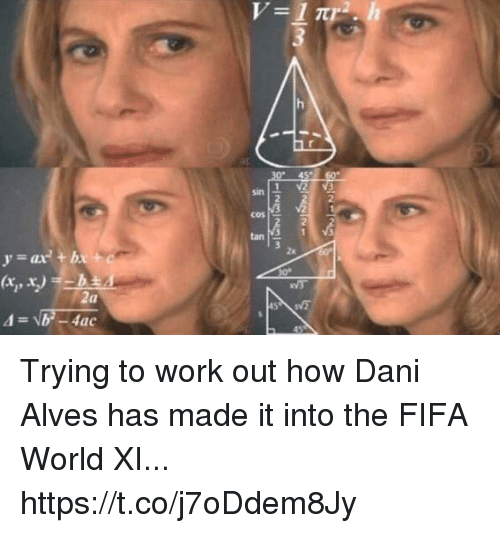 Fifa, Soccer, and Work: sin  2  2.  cos  2  tan M3 1  2x.  xV3  (a Trying to work out how Dani Alves has made it into the FIFA World XI... https://t.co/j7oDdem8Jy
