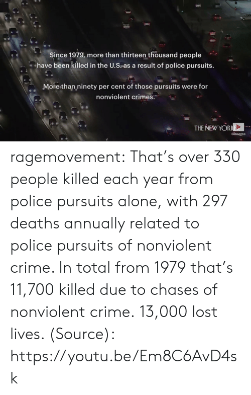Annually: Since 1979, more than thirteen thousand people  have been killed in the U.S as a result of police pursuits  More than ninety per cent of those pursuits were for  nonviolent crimes  THE NEW YORNE  subscribe ragemovement: That's over 330 people killed each year from police pursuits alone, with 297 deaths annually related to police pursuits of nonviolent crime. In total from 1979 that's 11,700 killed due to chases of nonviolent crime.  13,000 lost lives.   (Source): https://youtu.be/Em8C6AvD4sk