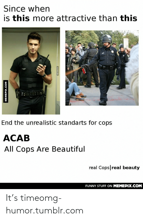 Real Beauty: Since when  is this more attractive than this  End the unrealistic standarts for cops  ACAB  All Cops Are Beautiful  real Cops|real beauty  FUNNY STUFF ON MEMEPIX.COM  MEMEPIX.COM  WA GAG COM It's timeomg-humor.tumblr.com