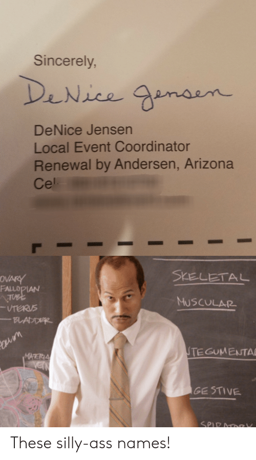 Terus: Sincerely  DeNice Jensen  Local Event Coordinator  Renewal by Andersen, Arizona  Cel.  SKELETAL  FALLOPIAN  MUSCULAR  TERUS  TEGUMENTA  MHERIA  GE STIVE These silly-ass names!
