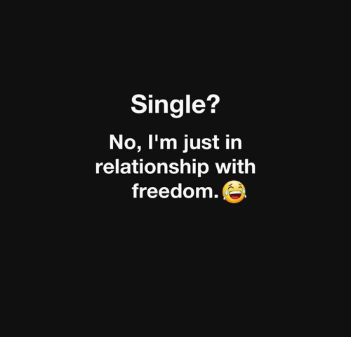 Freedom, Single, and Relationship: Single?  No, I'm just in  relationship with  freedom.e