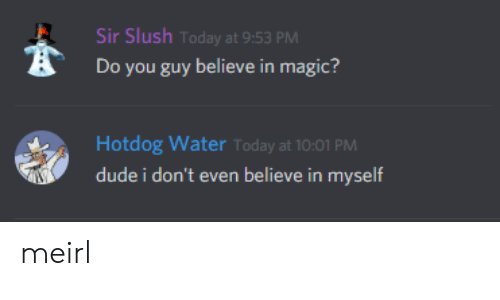 Dude, Magic, and Today: Sir Slush Today at 9:53 PM  Do you guy believe in magic?  Hotdog Water Today at 10:01 PM  dude i don't even believe in myself meirl