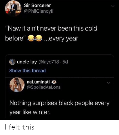 "uncle: Sir Sorcerer  @PhilClancyll  ""Naw it ain't never been this cold  ...every year  before""  uncle lay @layo718 5d  Show this thread  aaLuminati  @SpoiledAaLona  Nothing surprises black people every  year like winter I felt this"