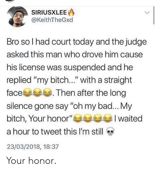"My Bitch: SIRIUSXLEE  @KeithTheGxd  Bro so l had court today and the judge  asked this man who drove him cause  his license was suspended and he  replied ""my bitch..."" with a straight  face. Then after the long  silence gone say ""oh my bad... My  bitch, Your honor""부부부부 I waited  a hour to tweet this I'm still  23/03/2018, 18:37 Your honor."