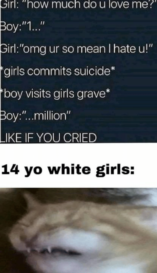 "Like If You: Sirl: ""how much do u love me  Boy:""1...""  irl:""omg ur so mean I hate u!""  girls commits suicide  boy visits girls grave*  Boy:""..million""  LIKE IF YOU CRIED  14 yo white girls:"