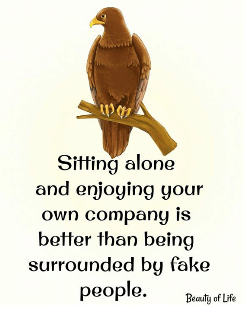 "Being Alone, Fake, and Life: Sitting alone  and enjoying your  own Company IS  better than beina  surrounded bu fake  ""Beauty of Life"