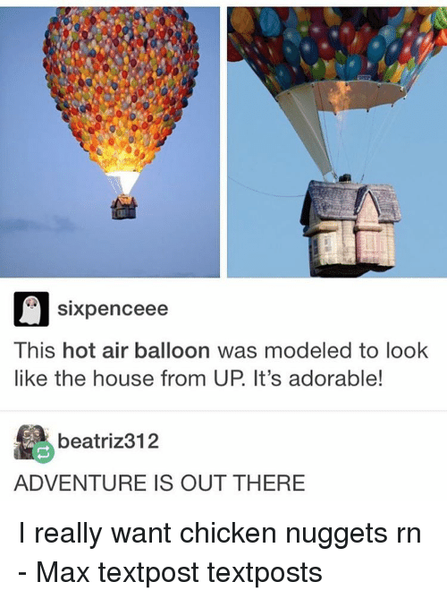 Beatriz: Sixpence ee  This hot air balloon was modeled to look  like the house from UP It's adorable!  beatriz 312  ADVENTURE IS OUT THERE I really want chicken nuggets rn - Max textpost textposts