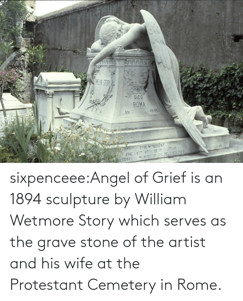 Rome: sixpenceee:Angel of Grief is an 1894 sculpture by William Wetmore Story which serves as the grave stone of the artist and his wife at the Protestant Cemetery in Rome.