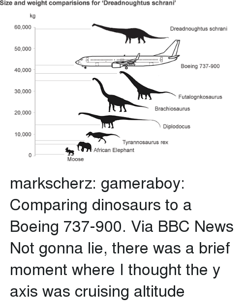 cruising: Size and weight comparisions for 'Dreadnoughtus schrani  kg  60,000  Dreadnoughtus schrani  50,000  Boeing 737-900  40,000  30,000  Futalognkosaurus  Brachiosaurus  20,000  Diplodocus  10,000  Tyrannosaurus rex  African Elephant  Moose markscherz:  gameraboy:  Comparing dinosaurs to a Boeing 737-900. Via BBC News  Not gonna lie, there was a brief moment where I thought the y axis was cruising altitude
