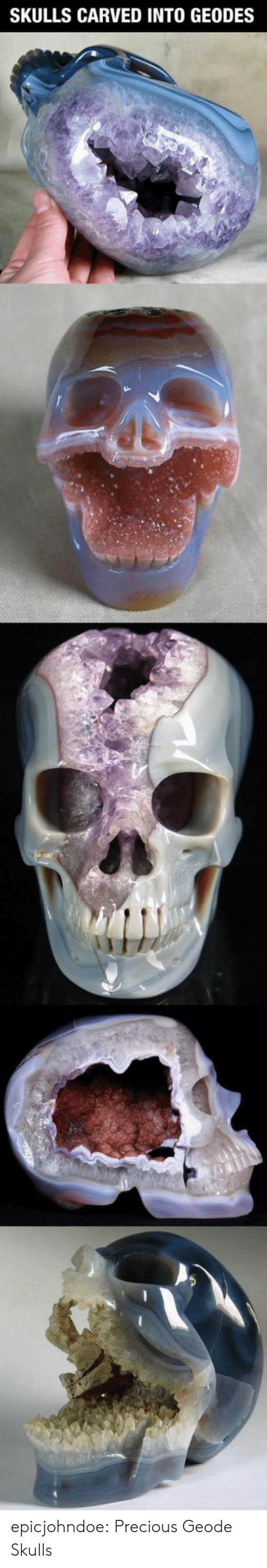 Precious, Tumblr, and Blog: SKULLS CARVED INTO GEODES epicjohndoe:  Precious Geode Skulls