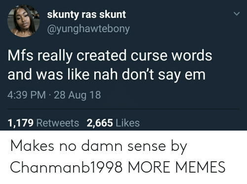 Skunt: skunty ras skunt  @yunghawtebony  Mfs really created curse words  and was like nah don't say enm  4:39 PM 28 Aug 18  1,179 Retweets 2,665 Likes Makes no damn sense by Chanmanb1998 MORE MEMES