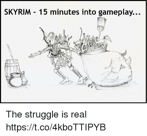 gameplay: SKYRIM 15 minutes into gameplay... The struggle is real https://t.co/4kboTTIPYB