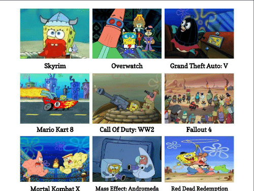 mario kart 8: Skyrim  Overwatch  Grand Theft Auto: V  8  Mario Kart 8  Call Of Duty: WW2  Fallout 4  92  Mortal Kombat  XMass Effect: Andromeda  Red Dead Redemption