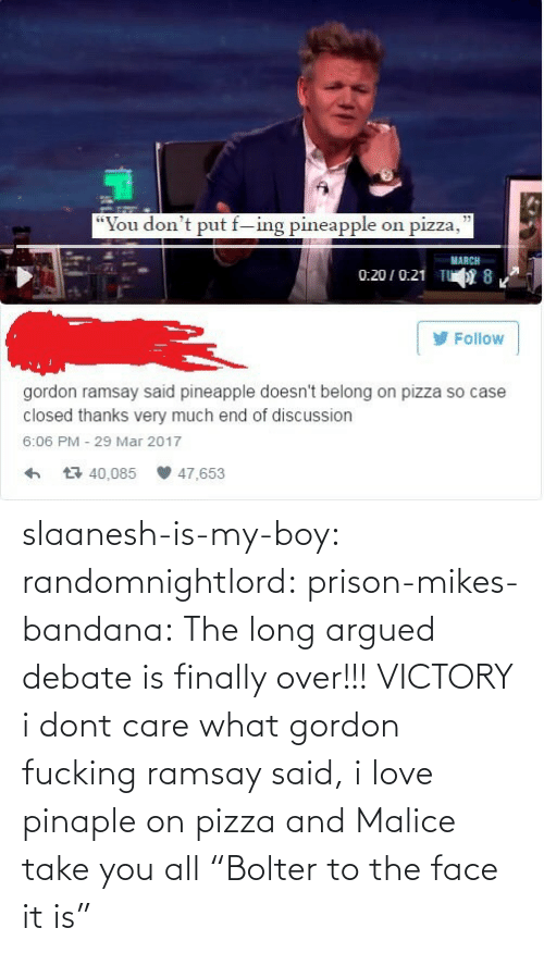 "don't care: slaanesh-is-my-boy:  randomnightlord: prison-mikes-bandana:  The long argued debate is finally over!!!   VICTORY  i dont care what gordon fucking ramsay said, i love pinaple on pizza and Malice take you all   ""Bolter to the face it is"""
