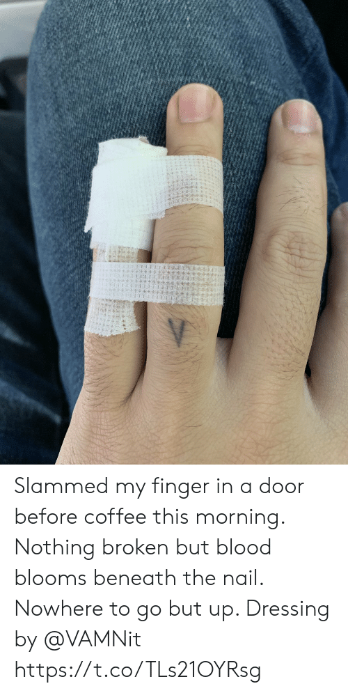 slammed: Slammed my finger in a door before coffee this morning.  Nothing broken but blood blooms beneath the nail.  Nowhere to go but up.  Dressing by @VAMNit https://t.co/TLs21OYRsg