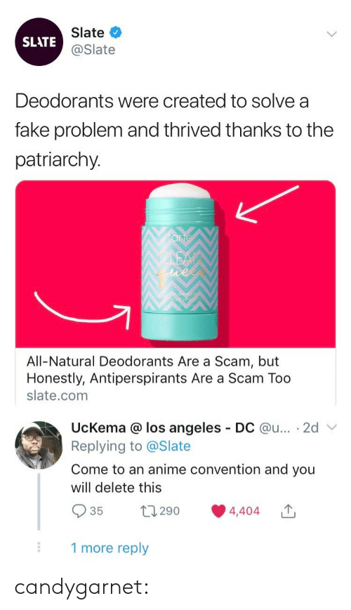 Anime, Fake, and Tumblr: Slate  SLATE@Slate  Deodorants were created to solve a  fake problem and thrived thanks to the  patriarchy.  All-Natural Deodorants Are a Scam, but  Honestly, Antiperspirants Are a Scam Too  slate.com  UcKema @ los angeles  Replying to @Slate  DC @u... 2d  Come to an anime convention and you  will delete this  t290  4,404  35  1 more reply candygarnet: