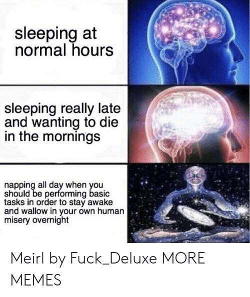Stay Awake: sleeping at  normal hours  sleeping really late  and wanting to die  in the mornings  napping all day when you  should be performing basic  tasks in order to stay awake  and wallow in your own human  misery overnight Meirl by Fuck_Deluxe MORE MEMES