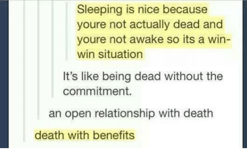 Not Awake: Sleeping is nice because  youre not actually dead and  youre not awake so its a win-  win situation  It's like being dead without the  commitment.  an open relationship with death  death with benefits