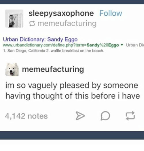 Ironic, Urban Dictionary, and Beach: sleepysaxophone Follow  memeufacturing  Urban Dictionary: Sandy Eggo  www.urbandictionary.com/define.php?term Sandy%20Eggo Urban Dio  1. San Diego, California 2. waffle breakfast on the beach.  memeufacturing  im so vaguely pleased by someone  having thought of this before i have  4,142 notes