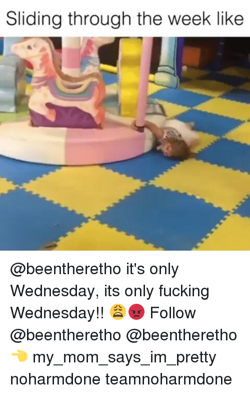 Its Only Wednesday: Sliding through the week like @beentheretho it's only Wednesday, its only fucking Wednesday!! 😩😡 Follow @beentheretho @beentheretho 👈 my_mom_says_im_pretty noharmdone teamnoharmdone