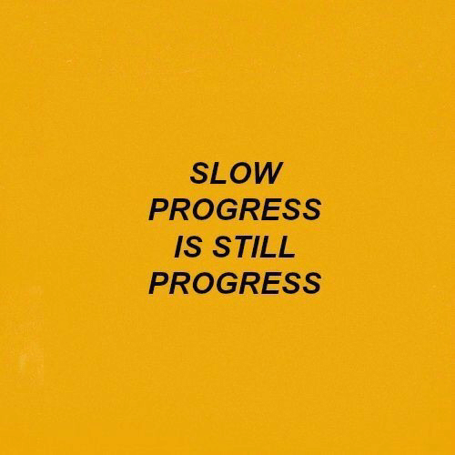 Still, Slow, and Progress: SLOW  PROGRESS  IS STILL  PROGRESS