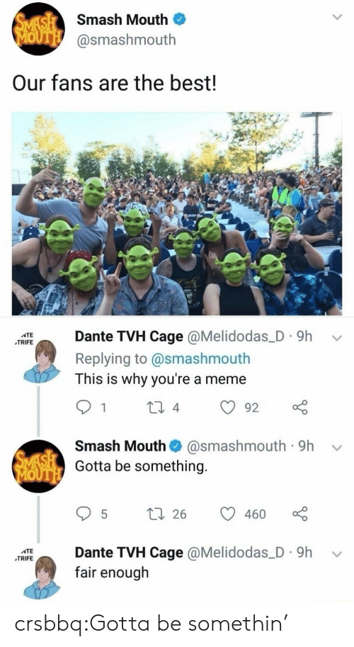 Meme, Smashing, and Smash Mouth: Smash Mouth  OUTE @smashmouth  Our fans are the best!  TAIDante TVH Cage @Melidodas_D 9h  Replying to @smashmouth  This is why you're a meme  TRIFE  Smash Mouth@smashmouth 9h -v  Gotta be something.  5 t 26 460  NTE  TRIFE  Rante TVH Cage @Melidodas_ D 9h  fair enough crsbbq:Gotta be somethin'