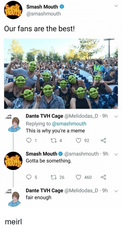 Meme, Smashing, and Smash Mouth: Smash Mouth  @smashmouth  Our fans are the best!  IEante TVH Cage @Melidodas_D. 9h v  TRIFE  Replying to @smashmouth  This is why you're a meme  Smash Mouth@smashmouth 9h  Gotta be something.  95 t 26  ante TVH Cage @Melidodas_D. 9h v  fair enough meirl