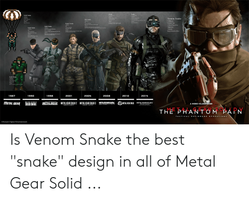 "Dogs, Best, and Game: Snake  Solid Snake  Venom Snake  Old Snake  Dlamond Dogs  Naked Snake  BArea of Operations  Solid Saake  Solid Saake  Rescue Kanhira Mler  Solid Snake  1987  1990  1998  2001  2004  2008  2010  2014  @METAL GEAR SOUD  META GEARS。し  METALGEARS OLID 2  METALGEARSOLID 3  METALGEAR  MET LGERSOLDV  A HIDEO KOJIMA GAME  METAL GEAR SOLID V  THEPHANTO Mi PAEN  TACTICA LE SPIONAGE OPE RATION S  ©Konami Digital Entertainment Is Venom Snake the best ""snake"" design in all of Metal Gear Solid ..."