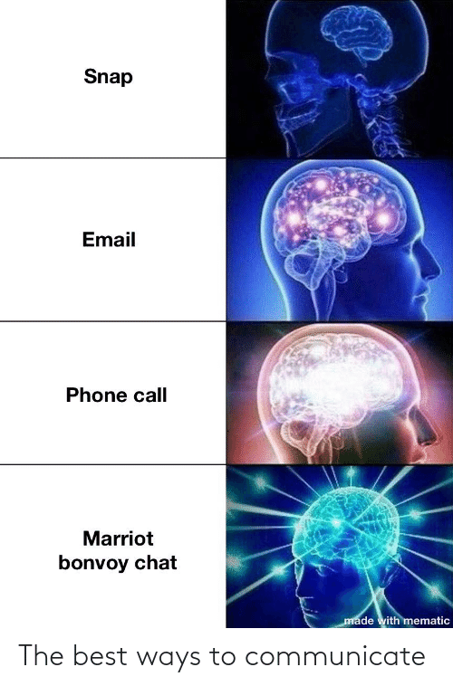 Communicate: Snap  Email  Phone call  Marriot  bonvoy chat  made with mematic The best ways to communicate